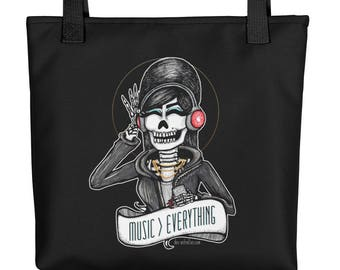 MUSIC > EVERYTHING Skeleton Girl with Headphones Art Tote bag