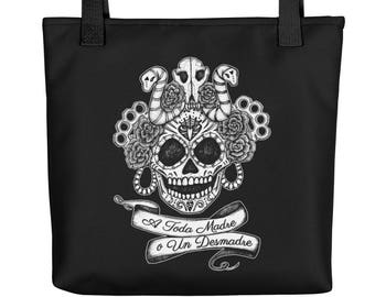 A Toda Madre Sugar Skull Brass Knuckles Serpents Tote bag