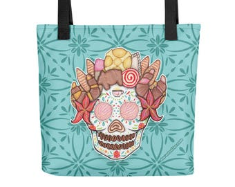 OFRENDA PAN DULCE Mexican Sweet Bread Sugar Skull Tote bag