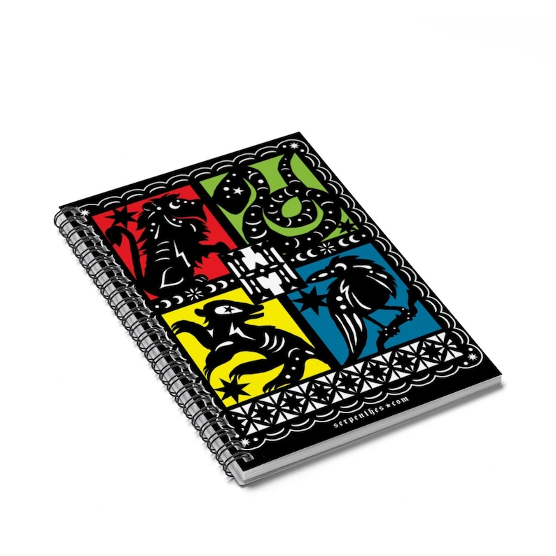 Hogwarts / Mexican Papel Picado Inspired House Crest Notebooks image 0
