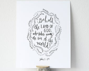 John 1:29 Printable Bible Verse Art Print 8x10 Digital Wall Art Gift
