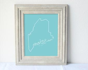 Printable Maine State Art Print 8x10 Digital Wall Art Gift