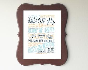 Revelation 21:22-25 Printable Bible Verse Art Print 8x10 Digital Wall Art Gift