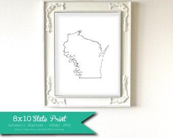 Printable Wisconsin State Art Print 8x10 Digital Wall Art Gift