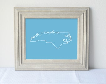 Printable North Carolina State Art Print 8x10 Digital Wall Art Gift