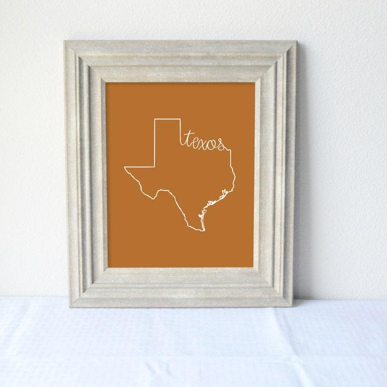 Printable Texas State Art Print 8x10 Digital Wall Art Gift image 0