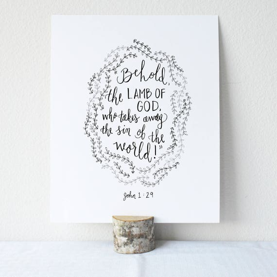 John 1:29 Printable Bible Verse Art Print 8x10 Digital Wall Art Gift