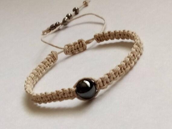 Hematite Hemp Bracelet Mens Beaded Bracelets Hemp Jewelry Etsy