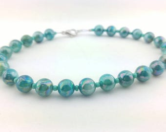 Beaded Silver Ankle Bracelet Handmade, Turquoise Jewelry, Anklets, Summer Jewelry, Fashion Jewelry, Summer Ankle Bracelet, Jewelry For Her