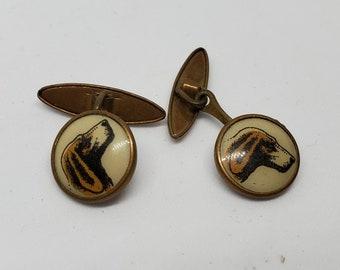 Vintage Enamel Cufflinks Hunting Theme Hunter with Dog Cufflinks Mens Jewelry