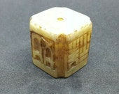 Antique Hand Carved Stone Japanese Netsuke - JADE INSCRIBED CUBE