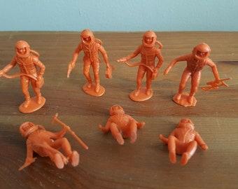 HTF 1960s MARX MPC Orange Astronaut Spacemen Plastic Toys