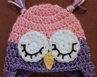 FREE SHIPPING Adorable Sleepy Owl Hat. Many colors! Newborn through adult!