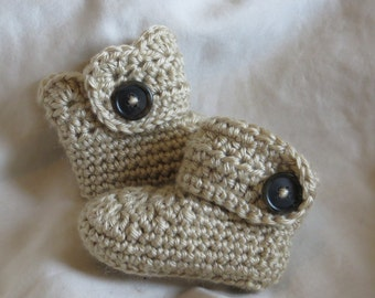 Ugg style baby booties with buttons & optional scallops