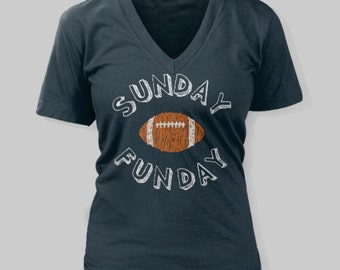 Denver Broncos Women s T-Shirt Sunday Funday Football V-Neck Shirt 60983634c