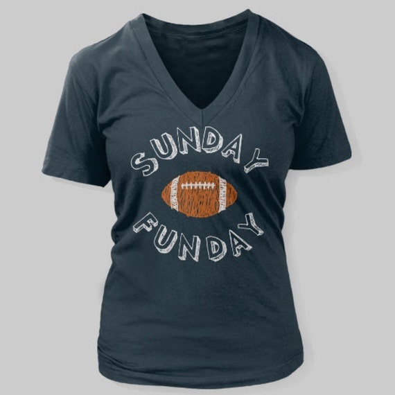 fa67578a Denver Broncos Women's T-Shirt Sunday Funday Football V-Neck Shirt