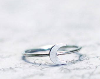 Crescent moon ring,moon stacking ring,moon ring,silver stacking ring, tiny moon ring, two tone ring, celestial ring, Sterling silver ring