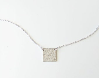 Square hammered pendant necklace, silver square necklace, hammered square necklace, tiny square necklace, geometric necklace/graduation gift