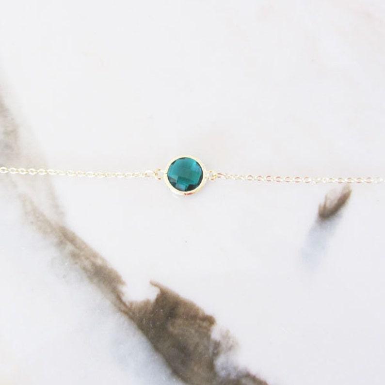 Emerald gold framed glass braceletemerald charm braceletcharm braceletgraduation gift