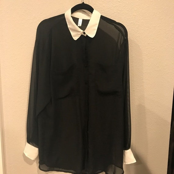 Black and white collar  button up oversized