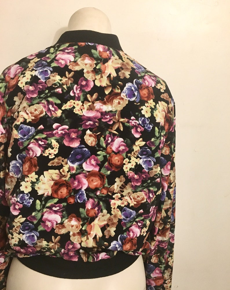 Small floral bomber jacket women
