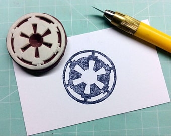Star Wars stamp. Galactic Empire Emblem stamp. rubber stamp. handcarved stamp. mounted