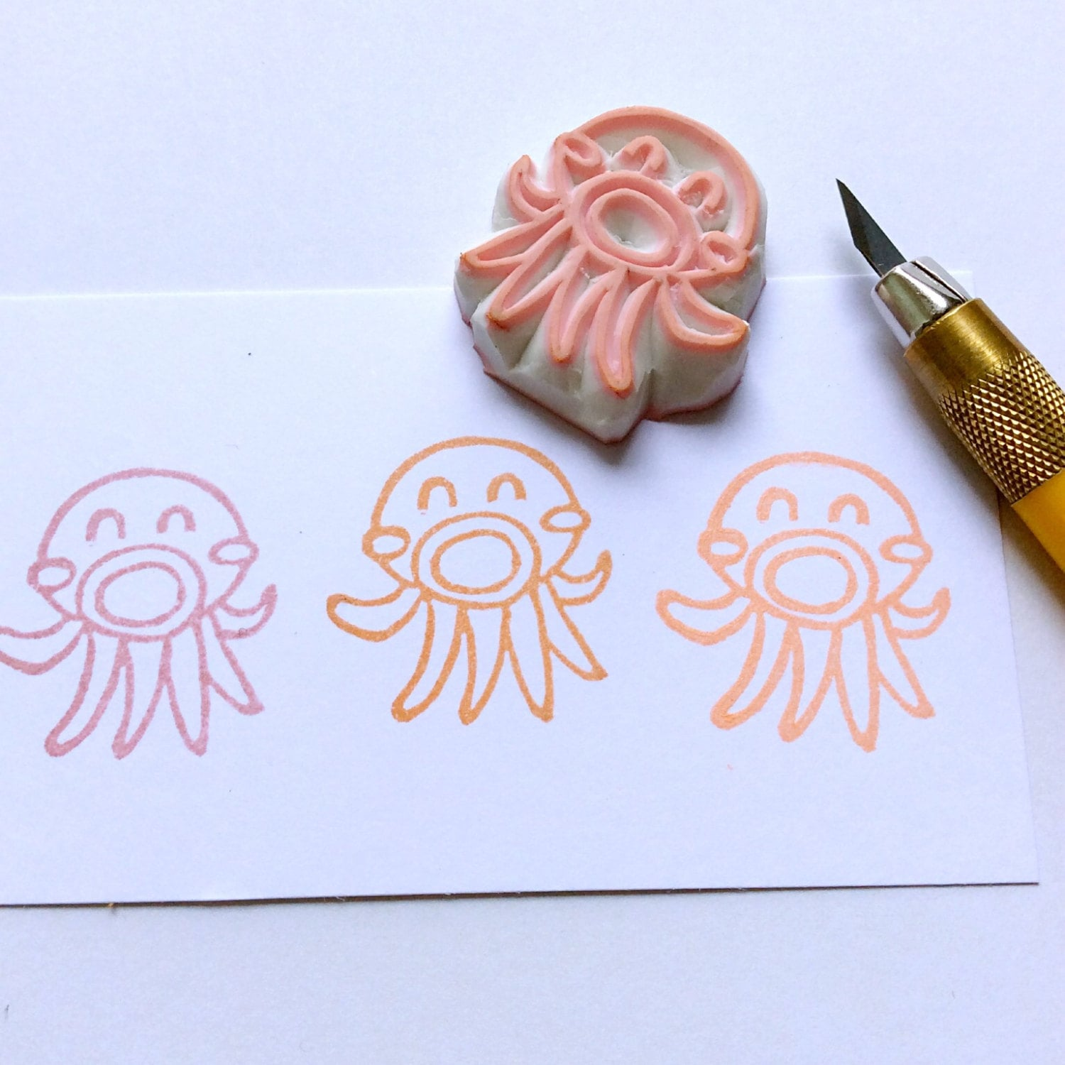 Octopus Stamp Rubber Hand Carved Mounted