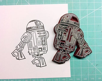 R2D2 stamp. Star Wars. Rubber stamp. Hand carved stamp. Mounted