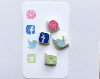 Social Media Stamp.(Facebook,Instagram,Twitter,Pinterest,homepage,telephone,email,wifi) rubber stamp.unmounted