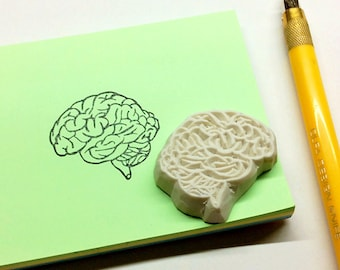 Brain stamp. Rubber stamp. Hand carved stamp. Mounted