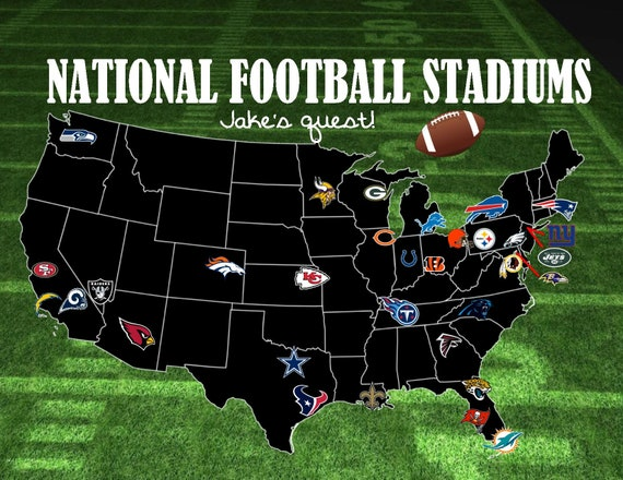 Custom NFL Football Stadium Travel Map! 32 stadiums/pushpin map on map of d1 football teams, map of australian football teams, map of scottish football teams, map of arena football teams, map of america football, map of usa football teams, map of english football teams,