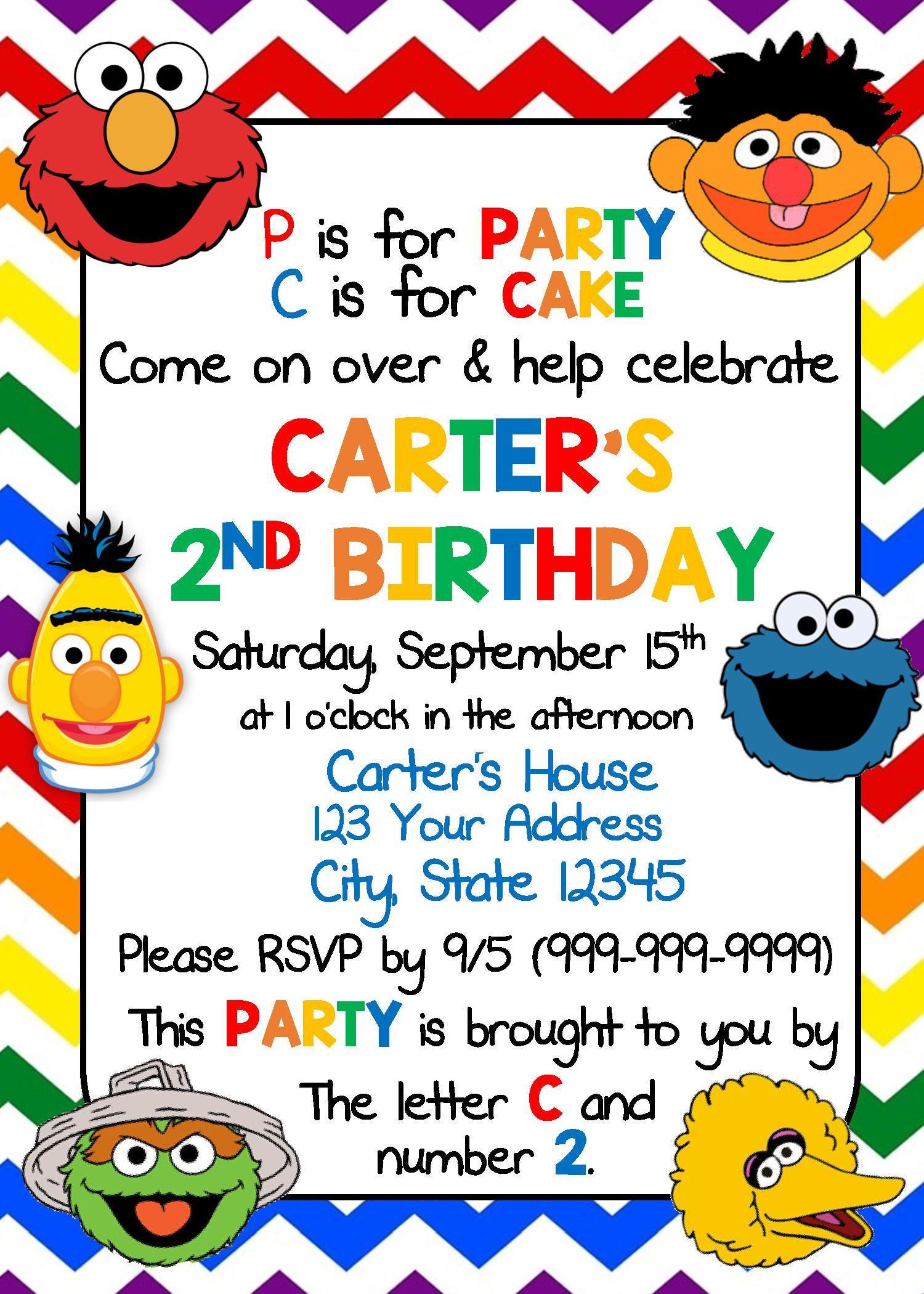 Sesame Street Birthday Invitations   Etsy