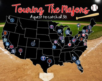 Custom Baseball Stadium Travel Map! 30for30/baseaballquest/baseball stadium/pushpin map