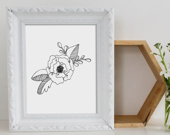 Art Print - Floral Art - Floral Illustration - Peony Illustration