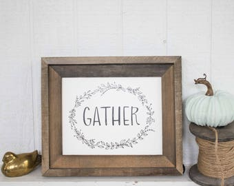 Autumn Art Print - Hand Lettered Print - Gather Art Print - Thanksgiving Art Print- 8 x 10 print