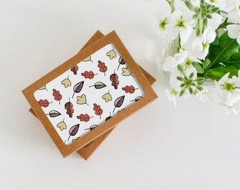 Greeting Card Set - Fall Leaves - Autumn Greeting Cards - Illustrated Leaves - Fall Cards - Blank Cards