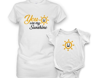 b348d304df8 Unisex Short Sleeve Baby Vests Funny Graphic Phrase Printed Bodysuits with  Matching T-Shirt for Mom - You are my Sunshine
