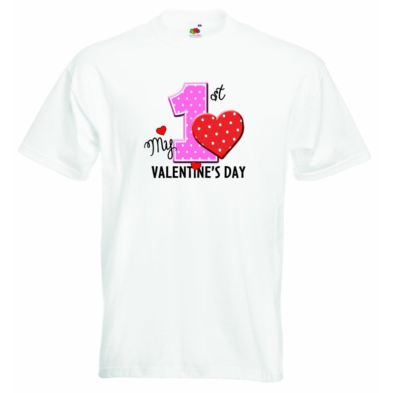 Boys Girls T-shirt Personalized Tees Unisex Boys Girls Tshirt Clothing with Printed Funny Quotes My first valentines day White