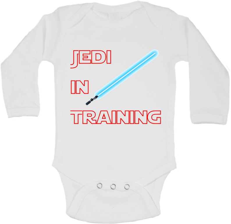 Jedi In Training Personalized Long Sleeve Baby Vests Bodysuits Baby Grows - White Unisex Boys, Girls