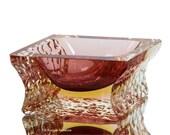 Murano Glass Bowl- Italian ALESSANDRO MANDRUZZATO Sommerso Glass Vessel in Aubergine
