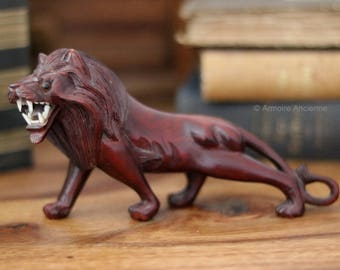 Hand Carved Wooden African Figurine, Mahogany Lion / Mid Century African Art