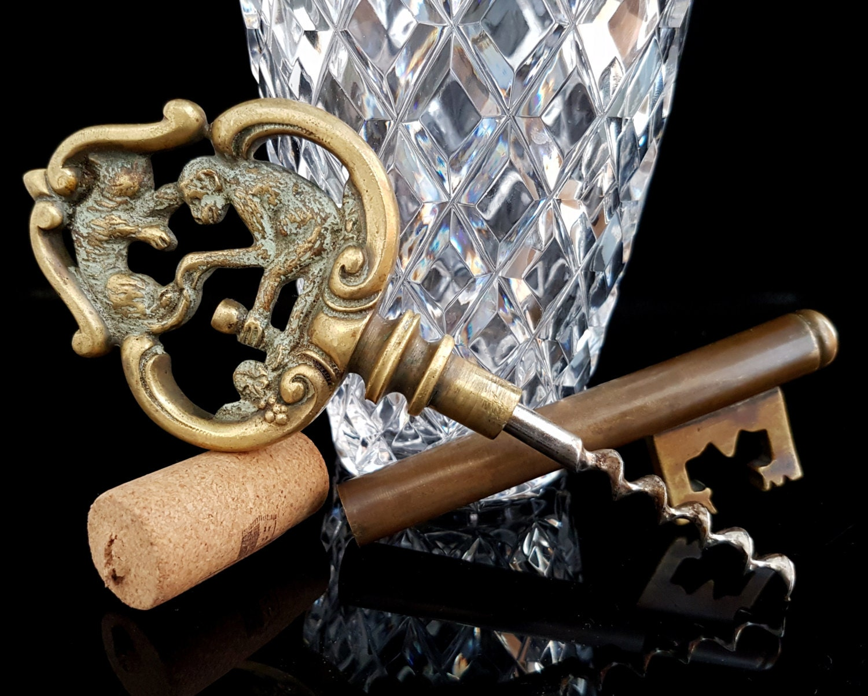 large key corkscrew brass skeleton key wine opener bottle etsy. Black Bedroom Furniture Sets. Home Design Ideas