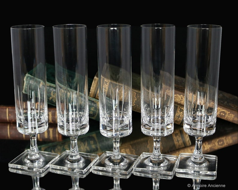 5x ROSENTHAL Crystal CHAMPAGNE FLUTES on Square Foot Design by George Butler Jensen Berlin Pattern