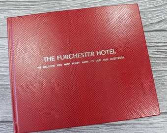 Personalised Berry Red Leather Visitor Guest Book  cd91e1300512