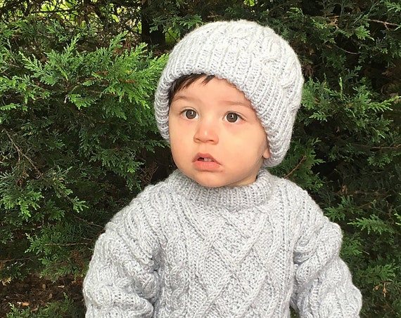 Made To Order Chunky Yarn Hand  Knitted Cable Design Child's Jumper And Matching Beanie Hat-Neutral Gender Child's Winter Sweater And Hat