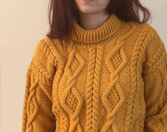 Made To Order Hand Knitted Jumper  With Cable Design And Cowl Neckline - Neckline Can Be Knitted To Your Specifications