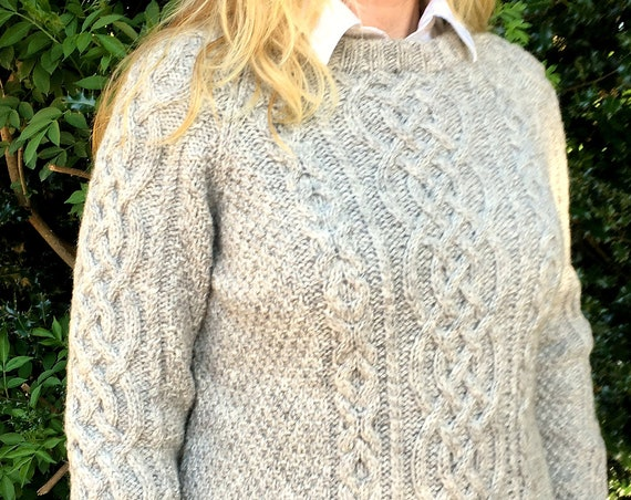 Hand Knitted Neutral Gender Organic Aran Wool Sweater-Cable Pattern Sweater-Crew Neck Sweater-Grey Jumper-Hand Knit Pullover-Knitted By Hand