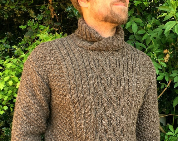 Hand Knitted Pure Aran Wool Sweater-Traditional Sweater-HandMade Sweater-Crossover Neckline-Winter Sweater-Knitwear-Modern Sweater-Gift Idea