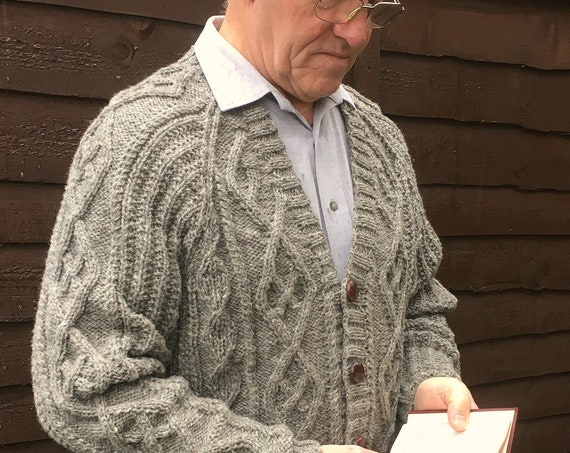 Men's Hand Knitted Pure Aran Wool Cardigan-Aran Knit Jacket-Fisherman's Knit Cardigan-Christmas Gift-Man's Cable Knit Top-Man's Pullover