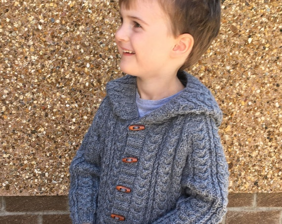 Made to Order Hand Knitted Grey Cable Pattern Jacket With Hood And Two Pockets-Boy's Aran Wool Jacket -Boys Winter Jacket-Made In Scotland